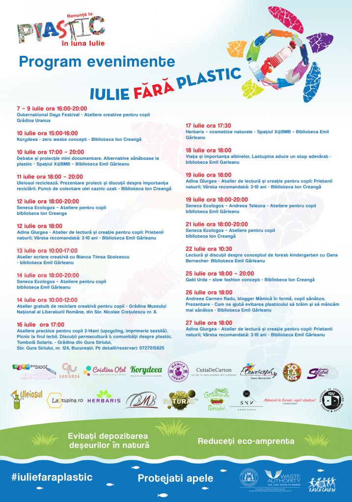 Poster evenimente iulie fara plastic update 7 iulie 2017